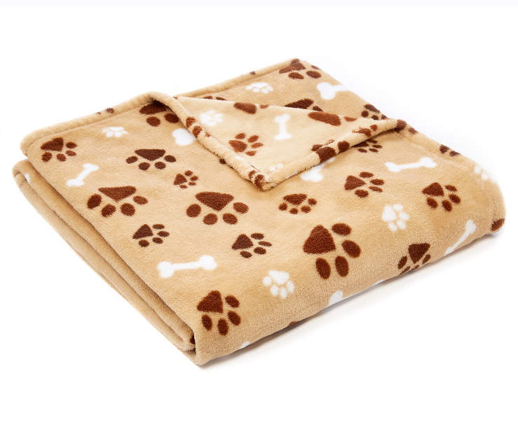 Tan Puppy Paw Prints and Bones Soft Throw silo angled