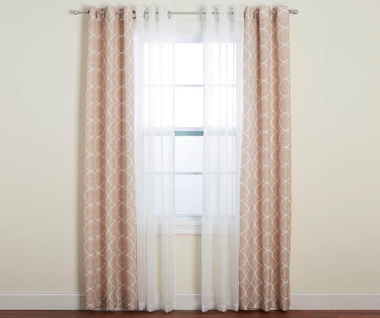 Tan Quatrefoil Print and Sheer voile Curtain Panels 4 Piece Set Lifestyle Window