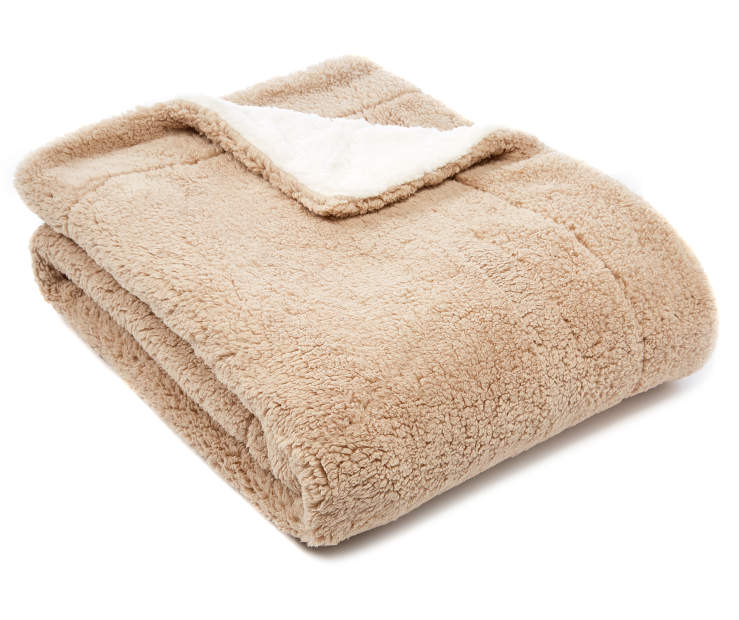 Tan Reversible Sherpa Throw silo angled