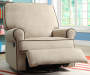 Tan Swivel Glider Recliner with Coffee Piping lifestyle
