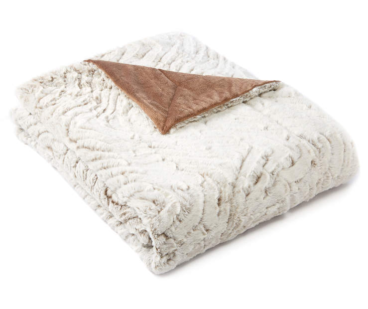 Tan Wave Faux Fur Luxe Throw silo angled