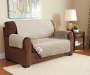 Tan and Geometric Reversible Loveseat Protector Lifestyle Image Solid Tan