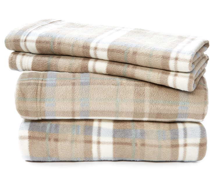 Tan and Teal Plaid Queen 4-Piece Fleece Sheet Set Silo Image Folded and Stacked