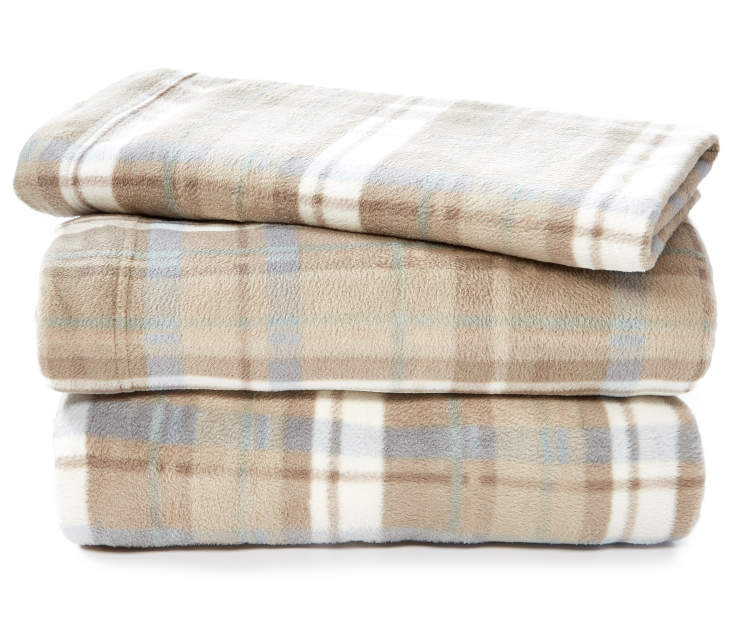 Tan and Teal Plaid Twin 3-Piece Fleece Sheet Set Silo Image Folded and Stacked