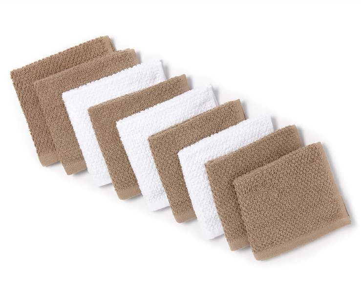 Tan and White Wash Cloths 9 Pack SIlo Image Folded Overhead View
