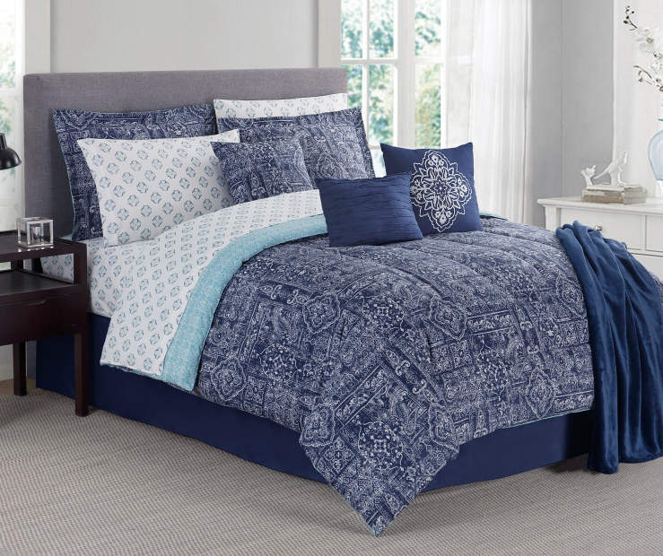 Tao Navy Medallion King 12 Piece Comforter Set Lifestyle Image Bedroom