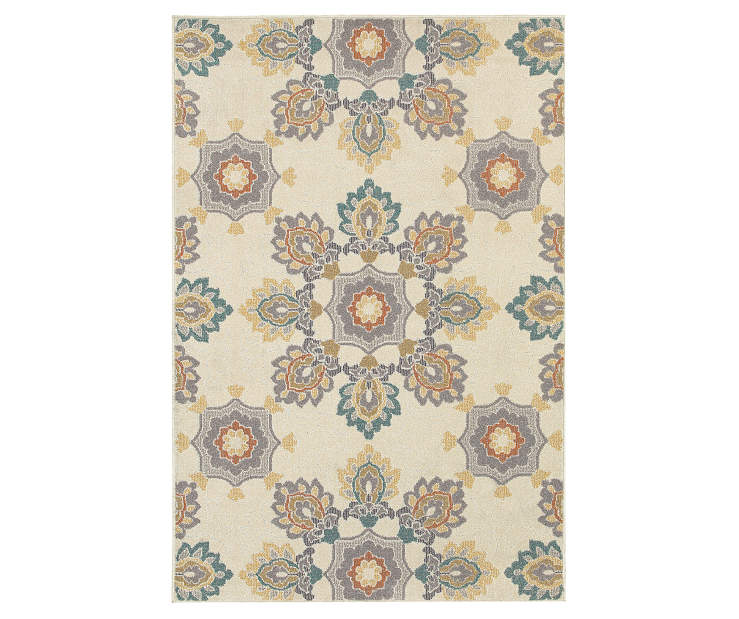 Tara Ivory Area Rug 3 Feet 3 Inches by 5 Feet Overhead View Silo Image