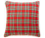 Tartan Plaid Word and Bead Tree Throw Pillow 18 inch x 18 inch silo front back view
