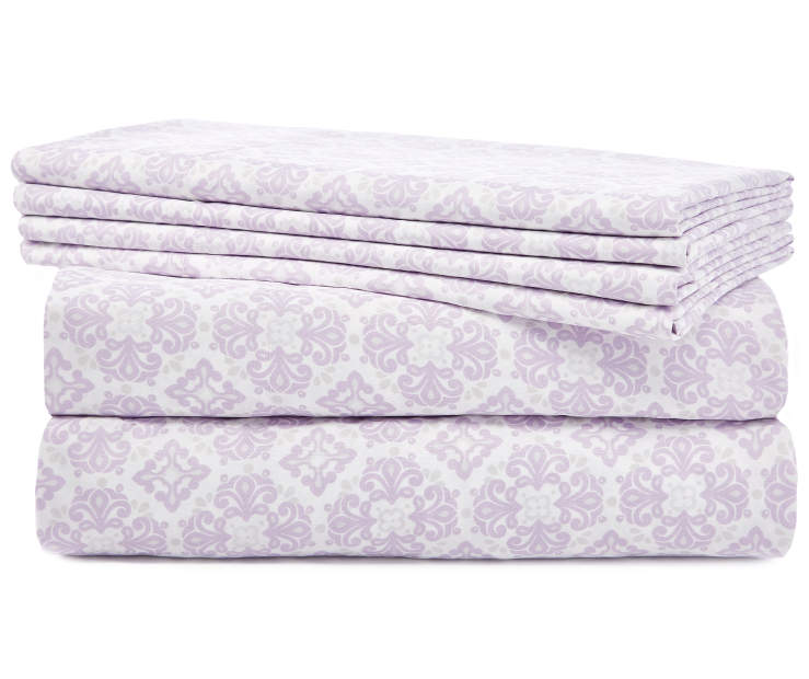 Tasha Purple and Gray Medallion Queen 6 Piece Sheet Set silo front