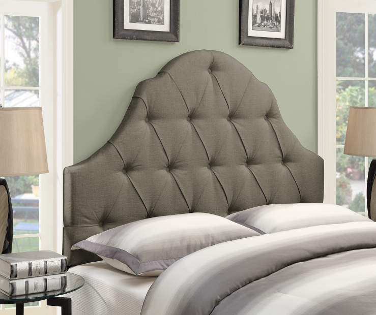 Taupe Button Tufted Queen Upholstered Headboard bedroom setting