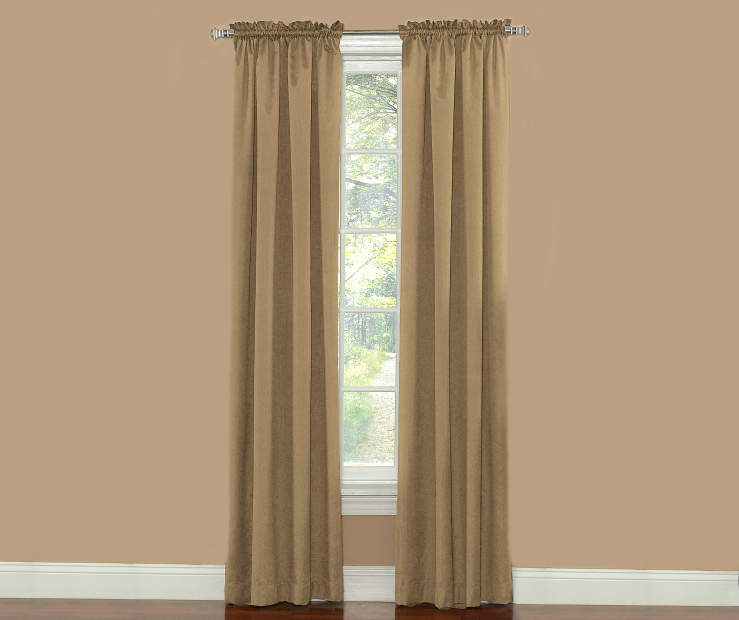 Taupe Thermal Curtain Panel Pair 84 Inches on Window Room View