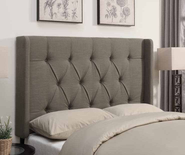 Taupe Tufted Queen Headboard bedroom setting