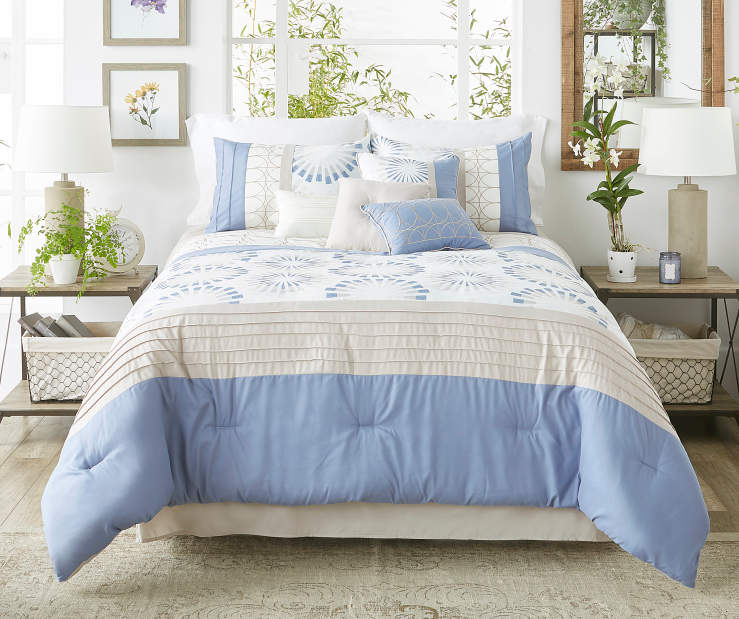Taylor Blue and Linen 8 Piece King Comforter Set bedroom setting