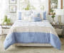 Taylor Blue and Linen 8 Piece Queen Comforter Set bedroom setting