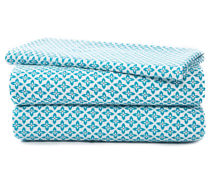 Teal Geometric Microfiber 3 Piece Twin Sheet Set Stacked and Folded Silo Image