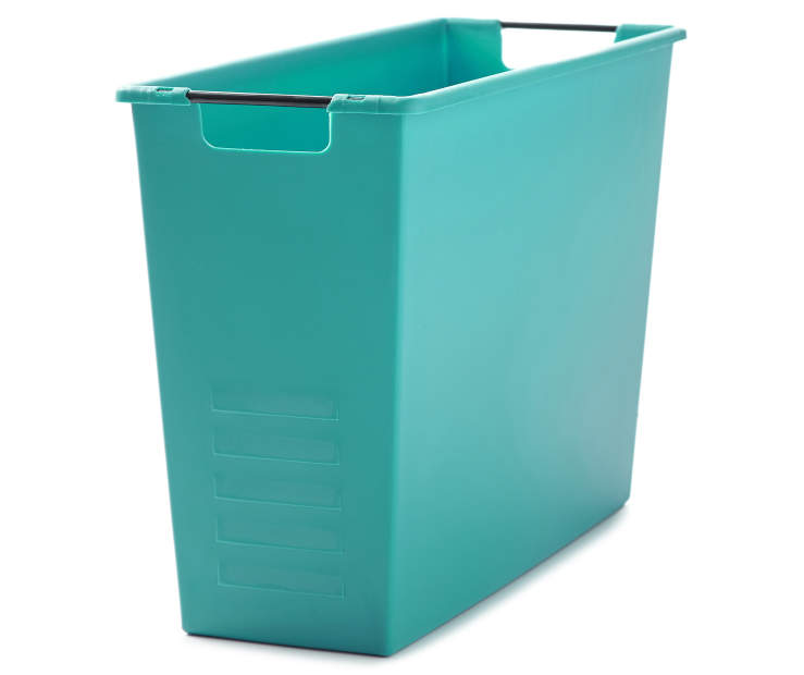 Teal Magazine Storage Bin Silo Angled View