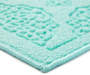 Teal Medallion Accent Rug 17 inch  x 30 inch silo front corner closeup