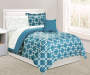 Teal Shoshana 6 Piece Twin Comforter Set on Bed Room View