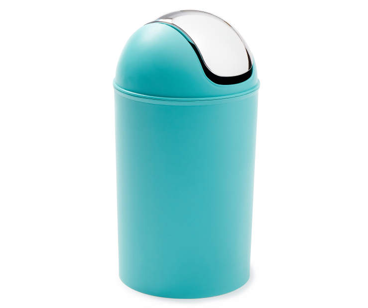 Teal Swing Bin Wastebasket with Chrome Flip Lid silo front