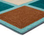 Teal and Brown Block Indoor Outdoor Area Rug 6 feet by 9 feet Corner Detail Silo Image Angled View