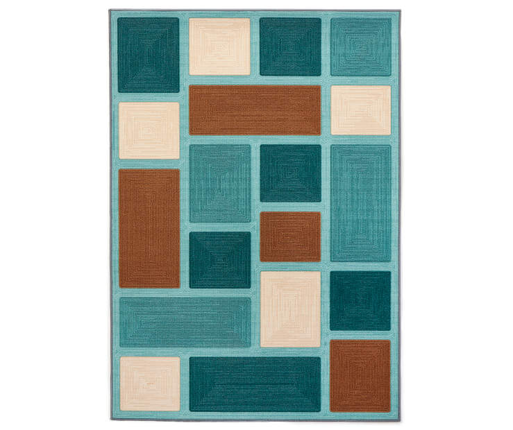 Teal Amp Brown Block Indoor Outdoor Area Rugs Big Lots