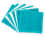 Teal and Ivory Wash Cloth 9 Pack Stacked and Fanned Silo Image