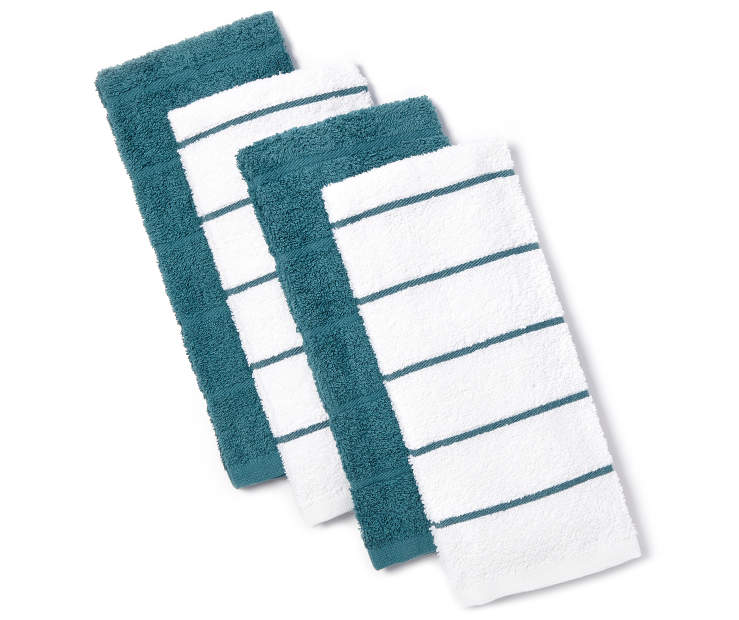 Teal and White Kitchen Towels 4 pack silo front