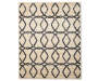 Tello Gray and Beige Ogee Area Rug 6 feet 7 inch x 8 feet 6 inch silo front