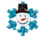 Tinsel crafted wall decor with blue snowflake and white snowman featuring a black top hat, smile and carrot nose overhead view silo image