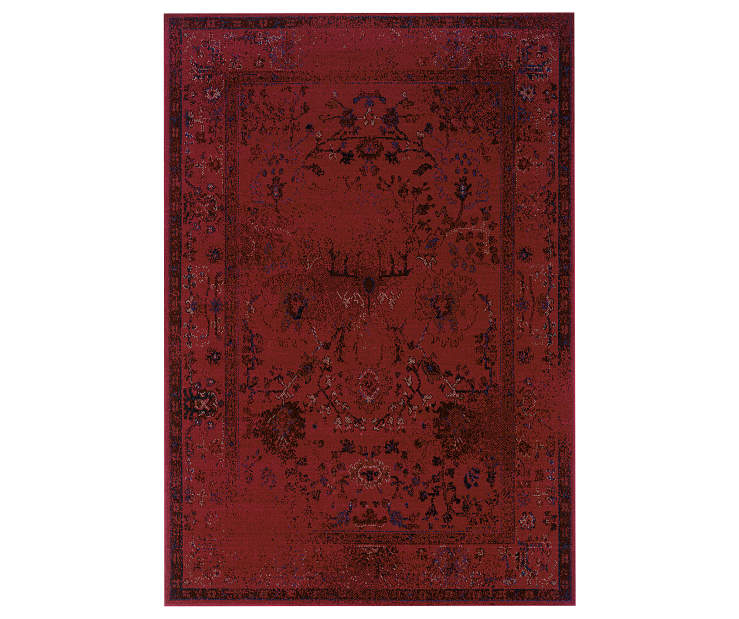Tinsley Red Area Rug 5 Feet 3 Inches by 7 Feet 6 Inches Overhead View Silo Image