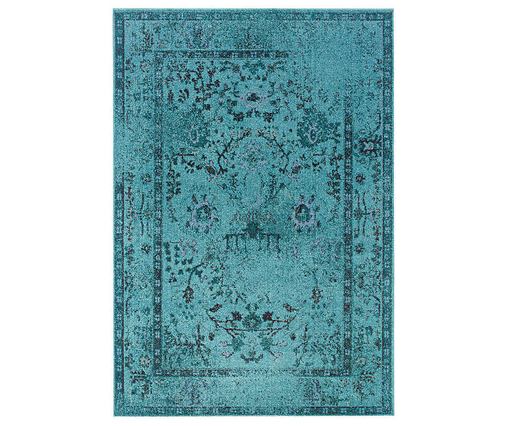 Tinsley Teal Area Rug 5 Feet 3 Inches by 7 Feet 6 Inches Overhead View Silo Image