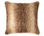 Tonal Brown Faux Fur Throw Pillow 18 inch x 18 inch silo front