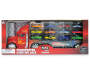 Transporter Truck Carrying Case with Die Cast Cars 14 Piece Set silo front in package