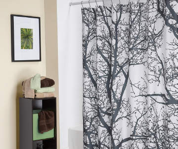Living Colors Trees Fabric Shower Curtain