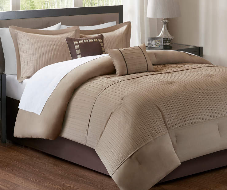 Trinity Natural 10 Piece Queen Comforter Set On Bed In Room Lifestyle Image
