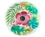 Tropical Floral Glass Solar Light Birdbath Silo Overhead View
