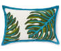 Tropical Leaf Reversible Outdoor Lumbar Throw Pillow 13 inch x 20 inch silo front