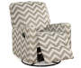 Truffle Chevron Swivel Glider Recliner silo angled leg rest up