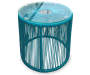 Turquoise All Weather Wicker 3 Piece Chat Set silo table view