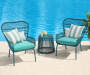 Turquoise All Weather Wicker 3-Piece Chat Set