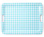 Turquoise Gingham Plaid Melamine Serving Tray Silo Overhead