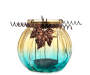 Turquoise Glass Pumpkin Tealight Candle Holder silo front