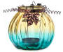Turquoise Glass Pumpkin Votive Candle Holder silo front