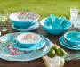 Turquoise Patterned Medallion Melamine Dinner Plate collection