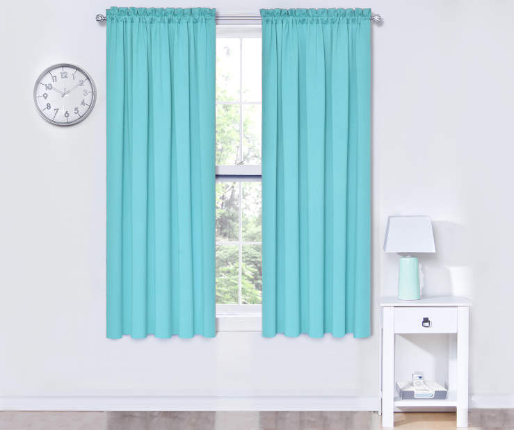 Turquoise Thermal Curtain Panel Pair 52X63 Window View