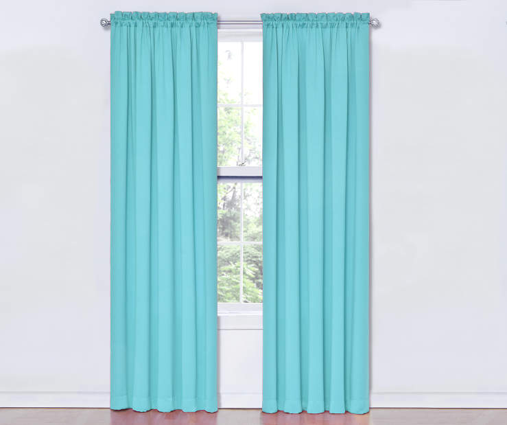 Turquoise Thermal Curtain Panel Pair 84 Inches on Window Room View