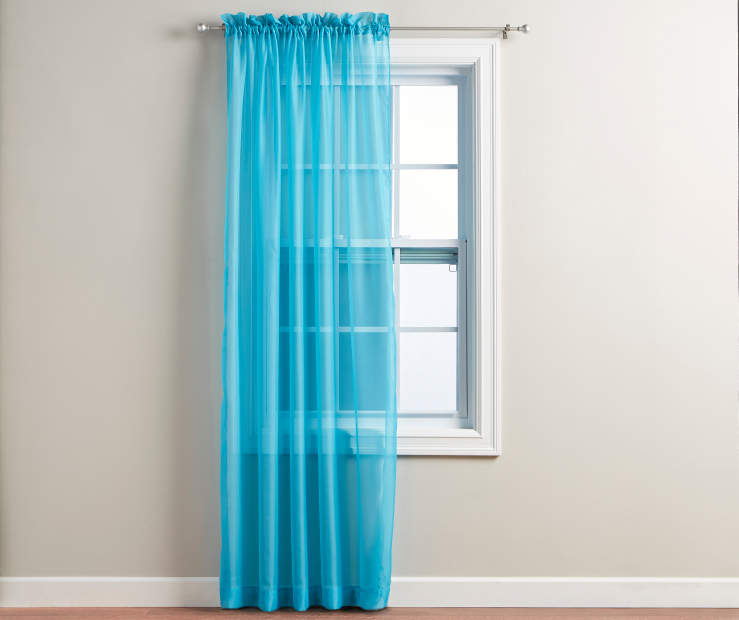 Turquoise Voile Curtain Panel 84 Inches on Window Room View