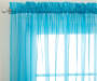 Turquoise Voile Sheer Curtain Panel, 63 Inches Lifestyle Image Close Up Corner