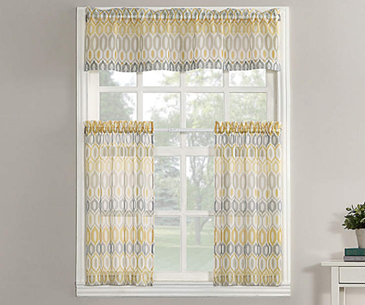 Valerie Yellow Tier and Valance 3 Piece Set On Window Lifestyle Image