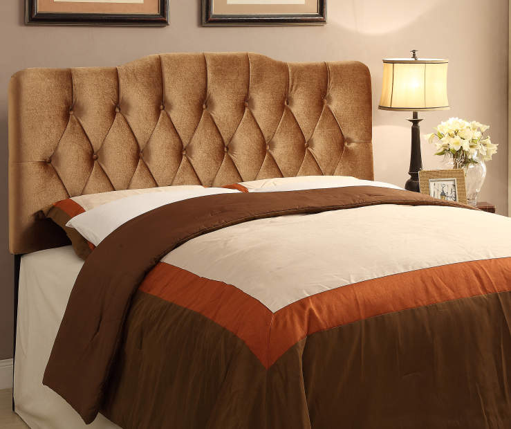 Velvet Bronze Button Tufted Queen Headboard bedroom setting